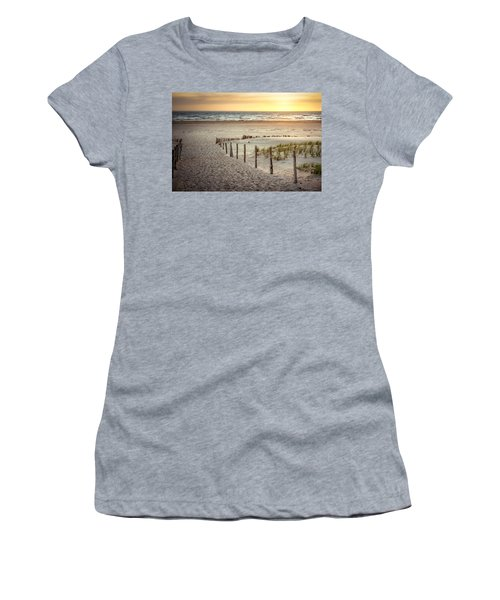 Women's T-Shirt (Junior Cut) featuring the photograph Sunset At The Beach by Hannes Cmarits
