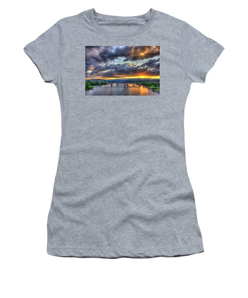 Sunset Bridges Of Chattanooga Walnut Street Market Street Women's T-Shirt
