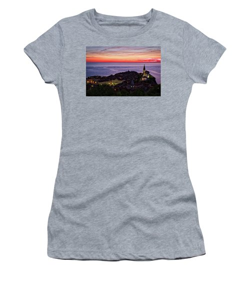 Women's T-Shirt (Athletic Fit) featuring the photograph Sunset From The Walls #3 - Piran Slovenia by Stuart Litoff