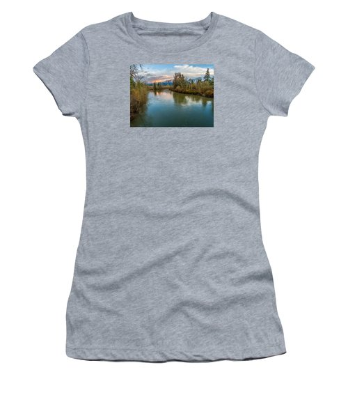 Sunset Glow Over The Snoqualmie River Women's T-Shirt (Athletic Fit)