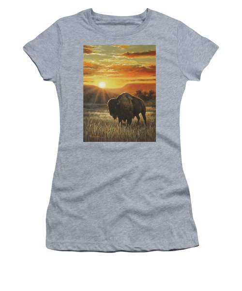 Women's T-Shirt (Junior Cut) featuring the painting Sunset In Bison Country by Kim Lockman