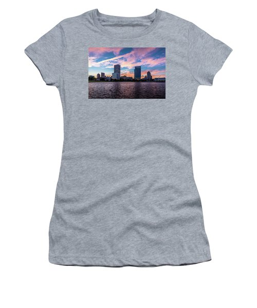 Women's T-Shirt (Athletic Fit) featuring the photograph Sunset In The City by Randy Scherkenbach
