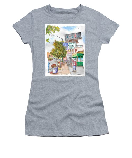 Sunset Plaza, Sunset Blvd., And Londonderry, West Hollywood, California Women's T-Shirt (Athletic Fit)