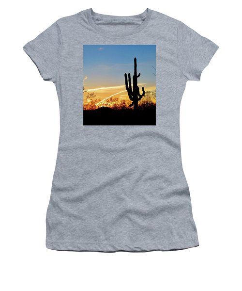 Sunset Saguaro In The Spring Women's T-Shirt (Athletic Fit)