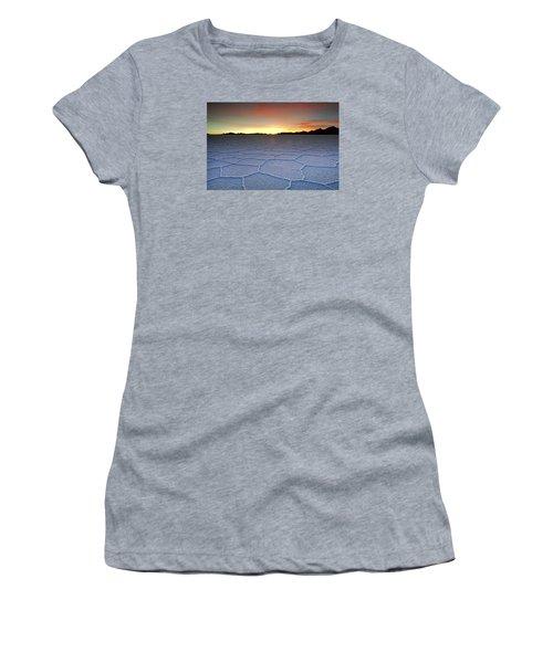 Lake Uyuni Sunset Texture Women's T-Shirt (Junior Cut) by Aivar Mikko