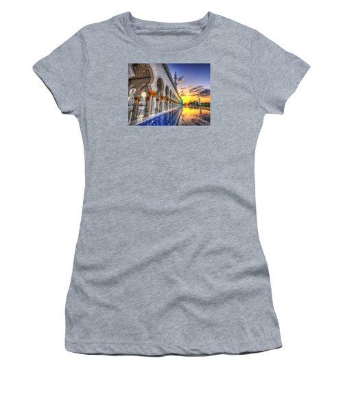 Sunset Water Path Temple Women's T-Shirt (Junior Cut) by John Swartz