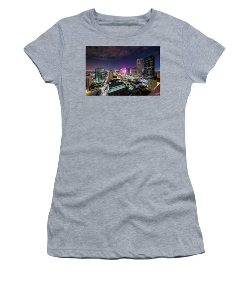 Super Bowl Li Down Town Houston Fireworks Women's T-Shirt (Junior Cut) by Micah Goff