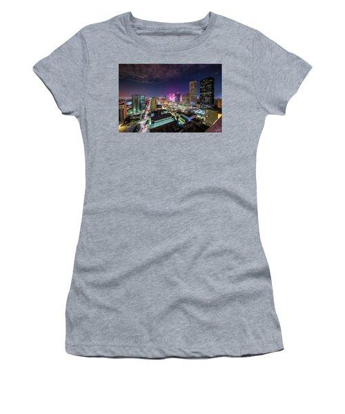 Super Bowl Li Down Town Houston Fireworks Women's T-Shirt (Junior Cut)
