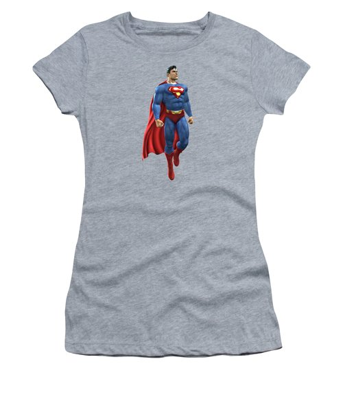 Women's T-Shirt (Junior Cut) featuring the mixed media Superman Splash Super Hero Series by Movie Poster Prints
