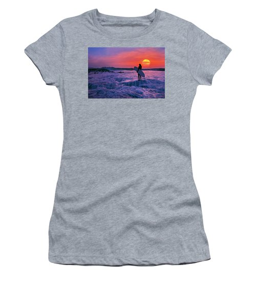 Surfer On Rock Looking Out From Blowing Rocks Preserve On Jupiter Island Women's T-Shirt (Athletic Fit)