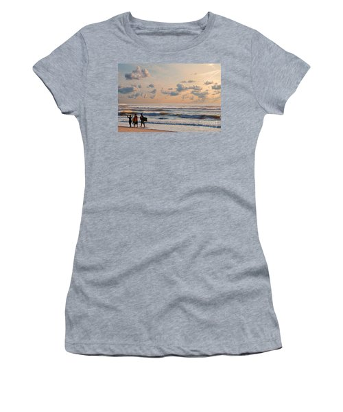 Surfing At Sunrise On The Jersey Shore Women's T-Shirt