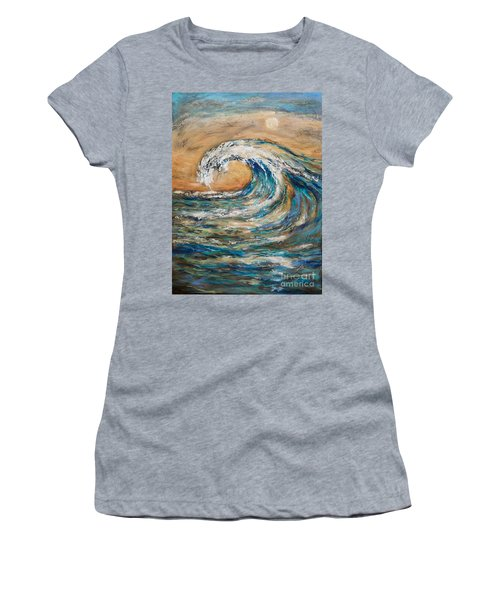 Women's T-Shirt (Junior Cut) featuring the painting Surf's Up by Linda Olsen