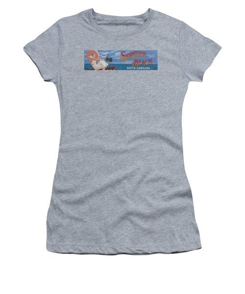 Surfside Beach Sign Women's T-Shirt (Junior Cut) by Barbara McDevitt