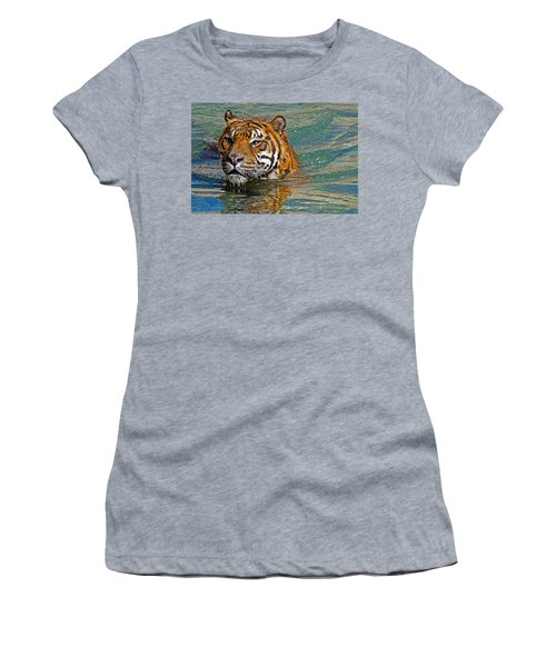 Swimming Tiger Women's T-Shirt (Athletic Fit)