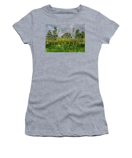 Women's T-Shirt (Athletic Fit) featuring the painting Tall Grass by Judith Rhue