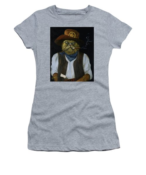 Women's T-Shirt (Junior Cut) featuring the painting Texas Cat With An Attitude by Leah Saulnier The Painting Maniac