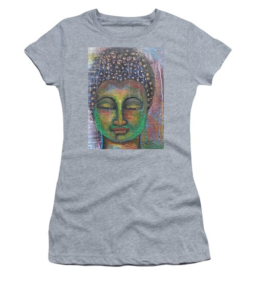 Textured Green Buddha Women's T-Shirt (Athletic Fit)