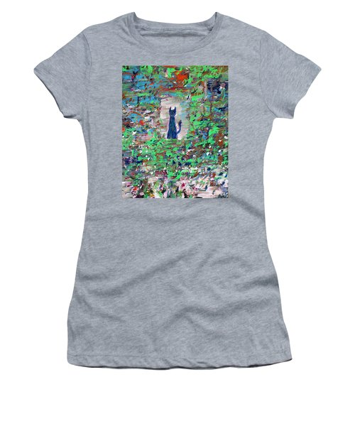 Women's T-Shirt (Junior Cut) featuring the painting The Cat In The Garden by Fabrizio Cassetta