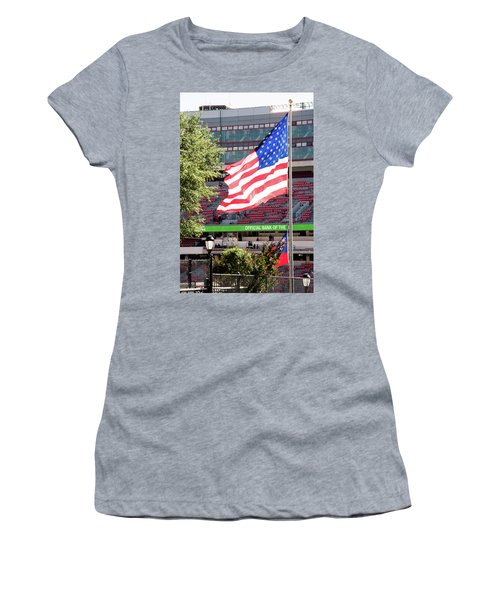 Women's T-Shirt (Junior Cut) featuring the photograph The Flag Flying High Over Sanford Stadium by Parker Cunningham