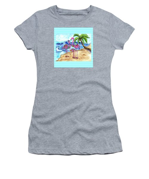 The Flamingo Family's Day At The Beach Women's T-Shirt