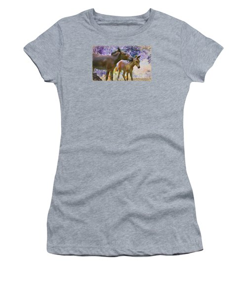 Women's T-Shirt (Junior Cut) featuring the painting The Kiss Edition 2 by Judy Kay