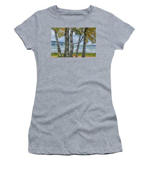 The Mackinaw Bridge By The Straits Of Mackinac In Autumn With Birch Trees Women's T-Shirt