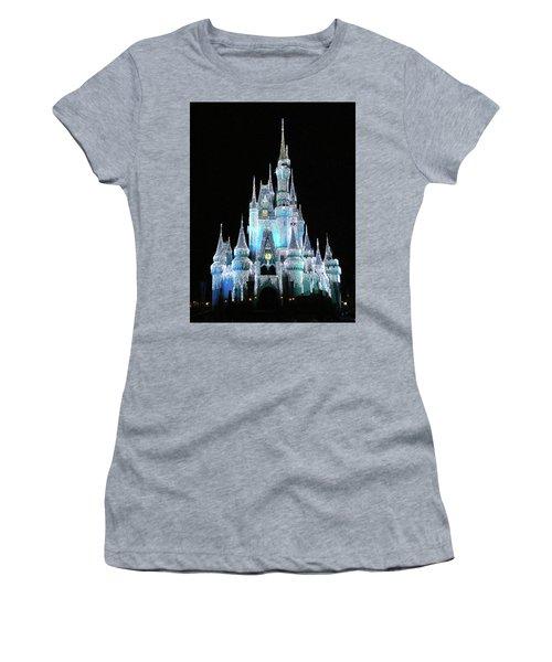 The Magic Kingdom Castle In Frosty Light Blue Walt Disney World Mp Women's T-Shirt (Junior Cut) by Thomas Woolworth