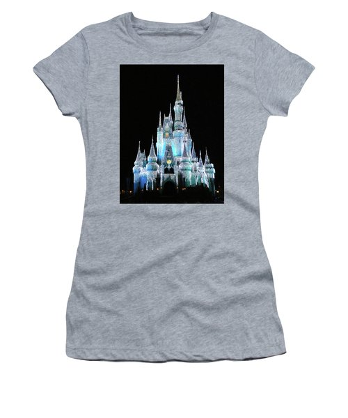 The Magic Kingdom Castle In Frosty Light Blue Walt Disney World Mp Women's T-Shirt (Athletic Fit)