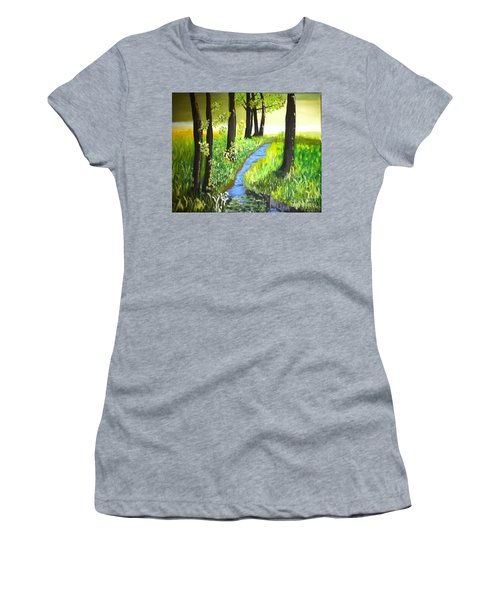 Women's T-Shirt (Junior Cut) featuring the painting The Meadow by Rod Jellison