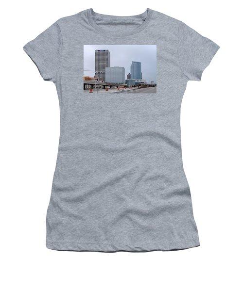 Women's T-Shirt (Junior Cut) featuring the photograph The New Milwaukee Skyline by Randy Scherkenbach