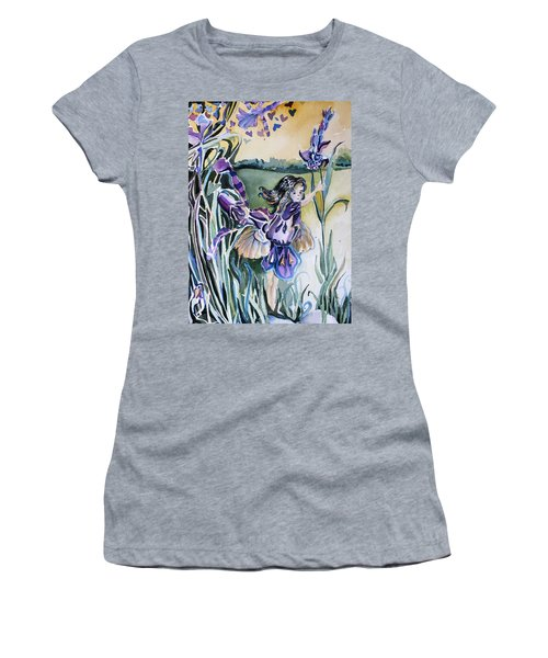 Women's T-Shirt (Junior Cut) featuring the painting The Orchid Fairy by Mindy Newman