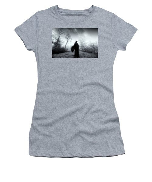 Women's T-Shirt (Junior Cut) featuring the photograph The Reaper Moving Through Mist And Fog by Christian Lagereek
