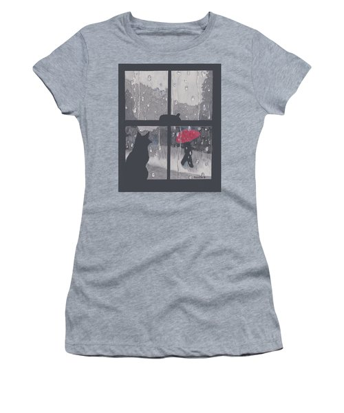 Women's T-Shirt (Junior Cut) featuring the painting The Red Umbrella by Quwatha Valentine