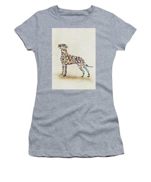 Women's T-Shirt (Athletic Fit) featuring the painting The Rhodesian Ridgeback Dog Watercolor Painting / Typographic Art by Ayse and Deniz
