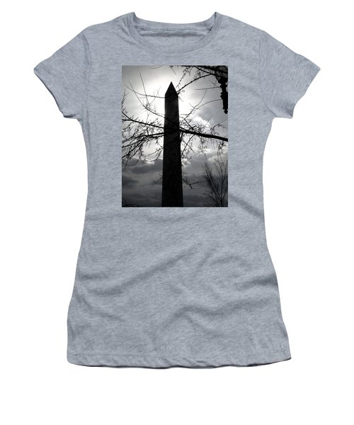 The Washington Monument - Black And White Women's T-Shirt (Athletic Fit)