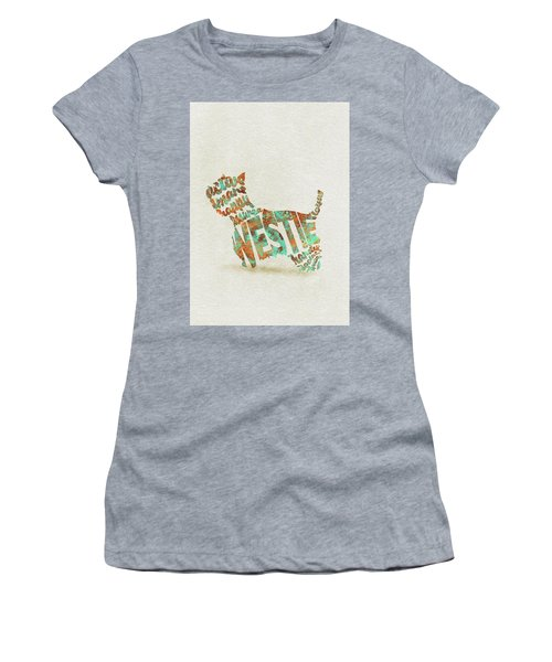 Women's T-Shirt (Athletic Fit) featuring the painting The West Highland White Terrier Watercolor Painting / Typographic Art by Inspirowl Design