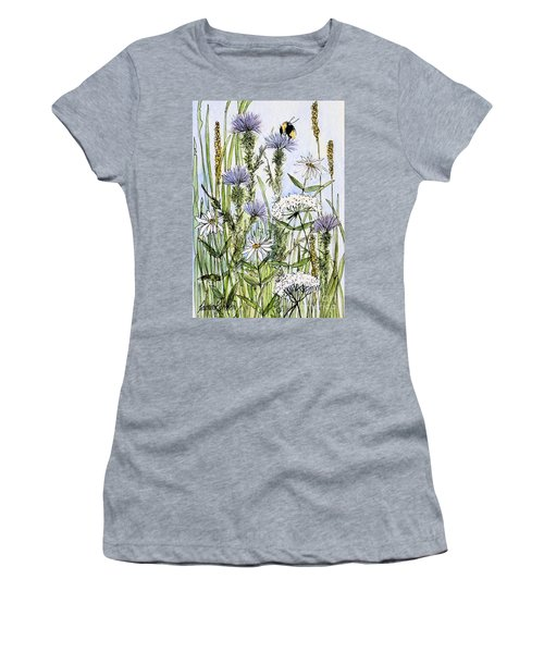 Thistles Daisies And Wildflowers Women's T-Shirt (Junior Cut) by Laurie Rohner