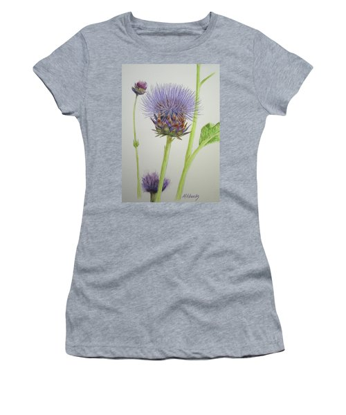 Women's T-Shirt (Junior Cut) featuring the painting Thistles by Marna Edwards Flavell