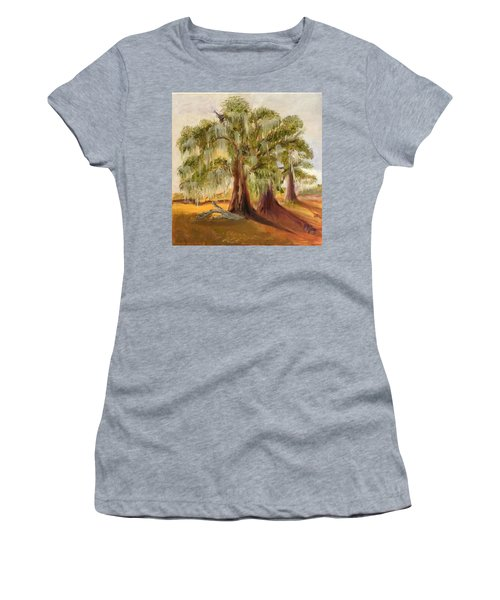 Three Live Oaks With Spanish Moss In A Florida Cow Pasture Women's T-Shirt (Athletic Fit)