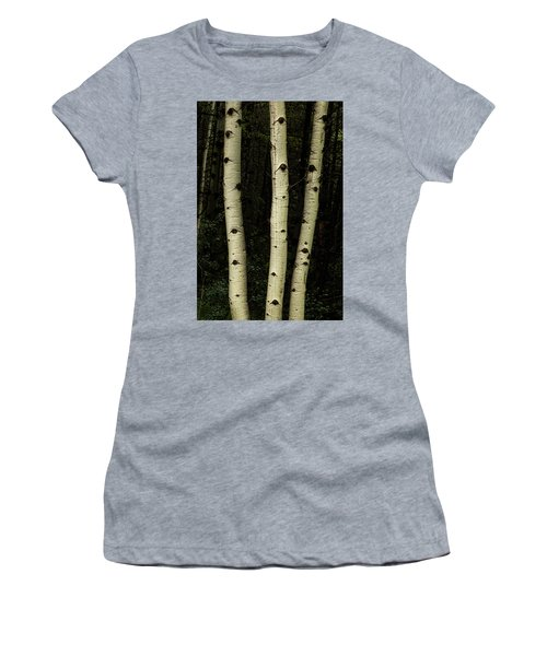 Women's T-Shirt (Athletic Fit) featuring the photograph Three Pillars Of The Forest by James BO Insogna