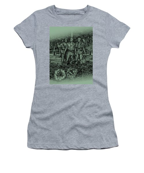 Women's T-Shirt (Athletic Fit) featuring the photograph Three Soldiers Memorial by David Morefield