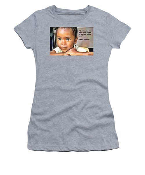 Women's T-Shirt (Junior Cut) featuring the painting Through The Eyes Of A Child by Wayne Pascall