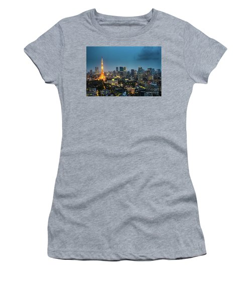 Tokyo Tower And Skyline Women's T-Shirt (Athletic Fit)