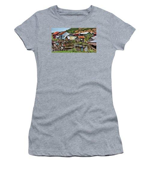 Tonle Sap Boat Village Cambodia Women's T-Shirt (Junior Cut) by Chuck Kuhn