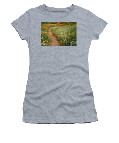 Women's T-Shirt (Junior Cut) featuring the photograph Trail Of Wildflowers At Diamond Lake In California by Jetson Nguyen