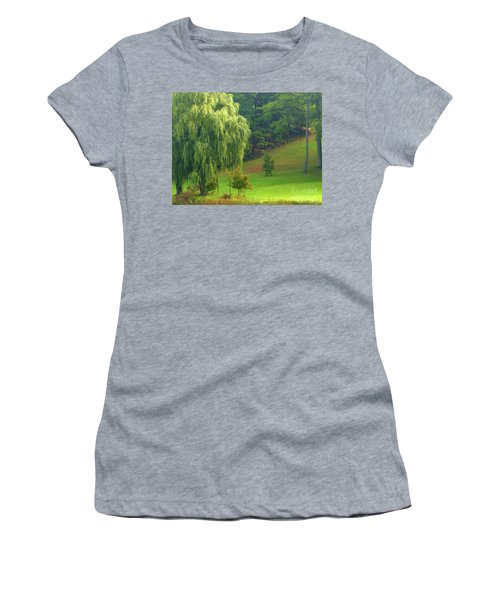 Women's T-Shirt featuring the photograph Trees Along Hill by Rockin Docks Deluxephotos