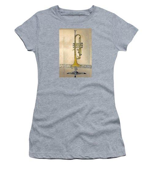 Women's T-Shirt (Junior Cut) featuring the digital art Trumpet by Walter Chamberlain