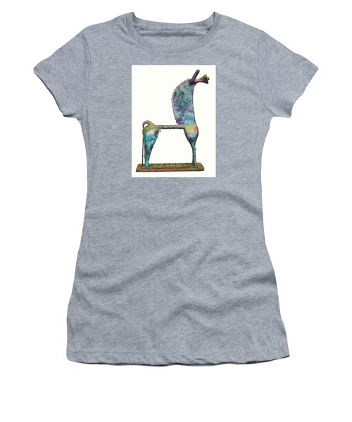 Women's T-Shirt (Junior Cut) featuring the sculpture Trumpeting Horse 8 by Al Goldfarb