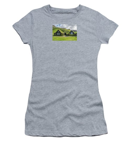 Turf Roof Houses And Shed, Skogar, Iceland Women's T-Shirt