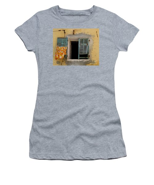 Turquoise Shuttered Window Women's T-Shirt (Athletic Fit)